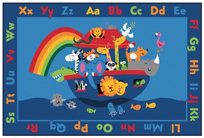 Noah's Alphabet Animals Value Rug Factory Second - Rectangle - 8' x 12' - CFKFS9696 - Carpets for Kids