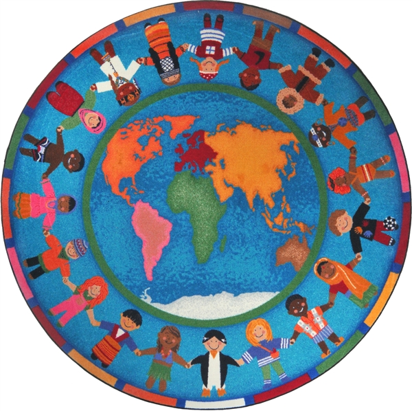 Hands around the world kids rug world map classroom carpet for Round rugs for kids