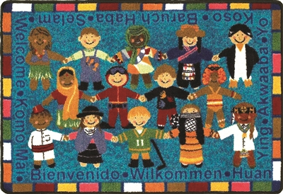 "Welcome in Many Languages Rug - Rectangle - 23"" x 33"" - JCX1517VIP"