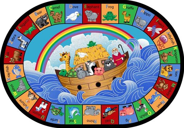 Noah S Alphabet Animals Rug Oval 10 9 Quot X 13 2 Quot Jc1610gg