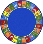 "Animal Phonics Rug - Round - 7'7"" - JC1623E - Joy Carpets"
