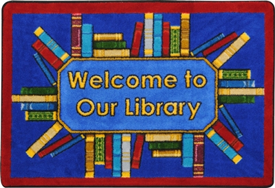 Library Books Welcome to Our Library Mat - RTR Kids Rugs