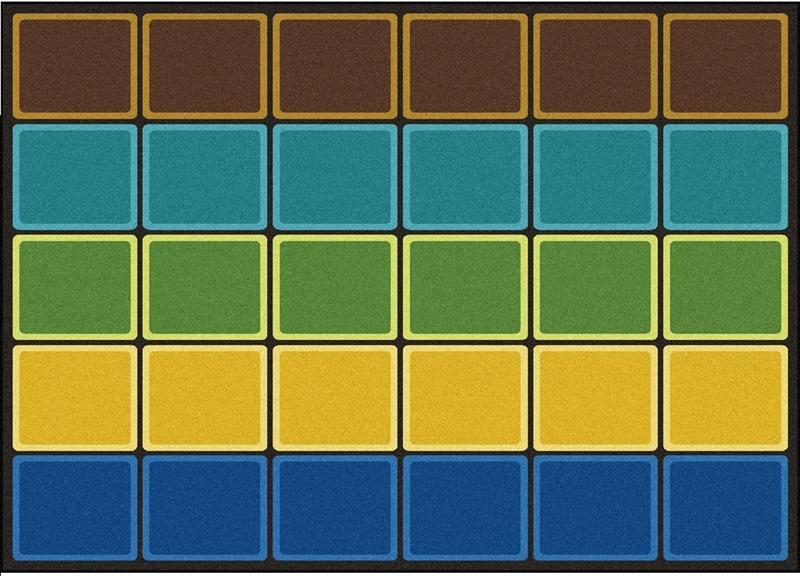Earthtone Color Block Carpet Color Block Classroom Rug