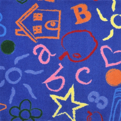 "Kid's Art Wall-to-Wall Carpet - Blue - 13'6"" - JCX1736W04 - Joy Carpets"