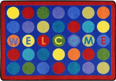 "Welcome Dots Mat - Rectangle - 2'8"" x 3'10"" - JCX1850MAT - RTR Kids Rugs"
