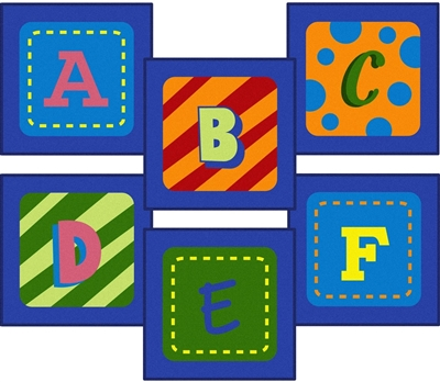 Alphabet Leaves 26 Sitting Squares - JCX838 - RTR Kids Rugs