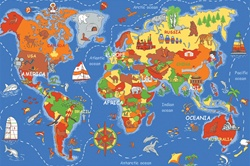 "Where In The World Play Rug - Rectangle - 36"" x 80"" - LC177 - Learning Carpets"