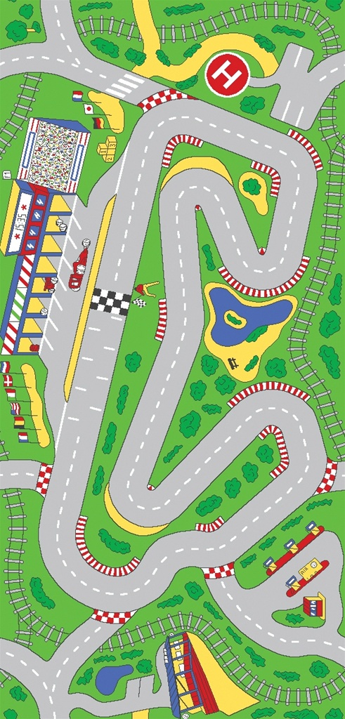 Kid S Race Track Rug Race Car Track Carpet Rtr Kids Rugs