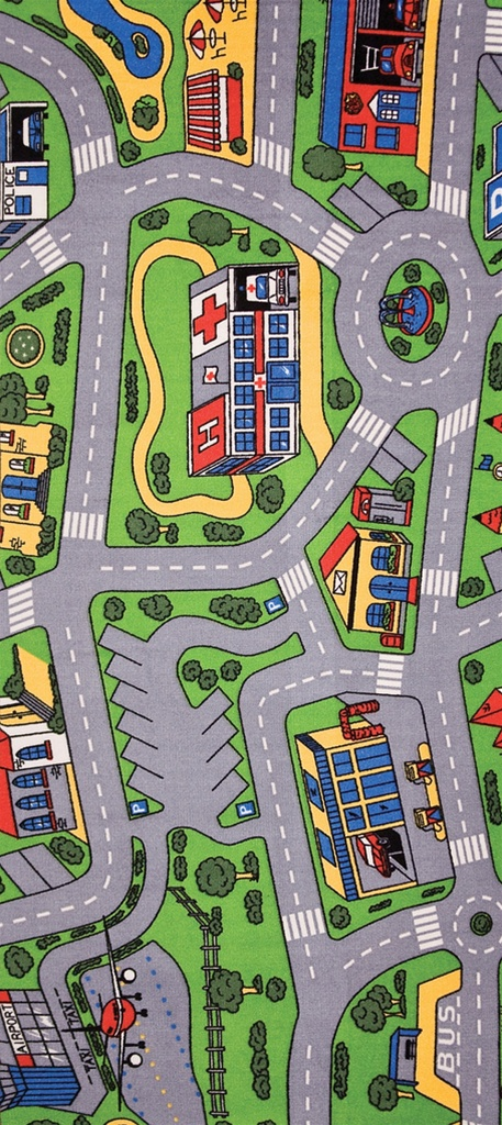 """List Of Car Brands >> City Life Play Rug Rectangle 36"""" x 80"""" 