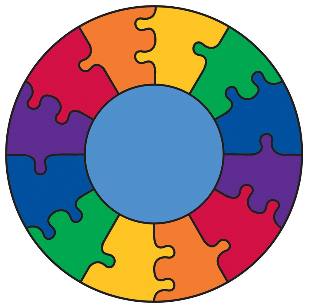 Puzzle Rainbow Play Rug Round 6 6